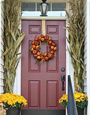 Cornstalks & Fall Mums Framing Doorway