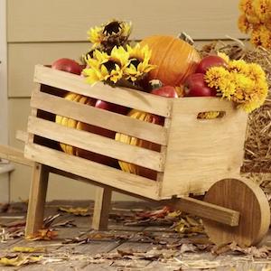 wheelbarrow with fall decorations inside