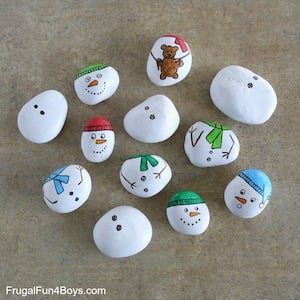 build a snowman with rocks