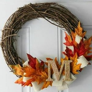 Fall Letter Wreath Grapevine Wreath + Burlap Ribbon + Fake Leaves + Hot  Glue Gun + Wood Letter. You Can Get Everything But The Wood Letter At  Dollar Tree.