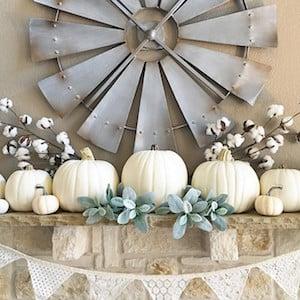 farmhouse White Pumpkin and cotton stems Fall Mantel Idea
