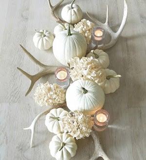 White mums, pumpkins and antler fall Centerpiece