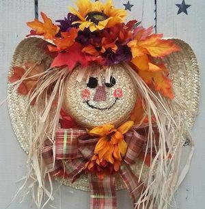 Scarecrow Straw Hat Wreat