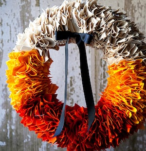 Candy Corn Colored Fabric Wreath