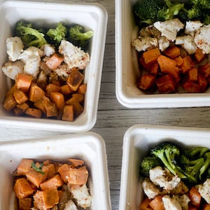 Baked Chicken, Broccoli and Sweet Potatoes