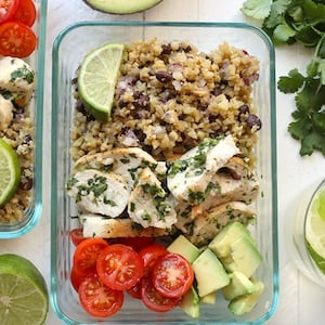 Cilantro Lime Chicken Meal Prep with Cauliflower Rice
