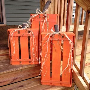 wood crates turned into fall pumpkins