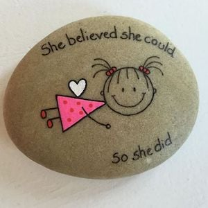 She believed she could so she did quote Rock with stick figure girl flying