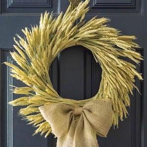Fall Wheat Wreath with burlap bow