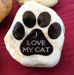I Love My Cat Paw Print Rock