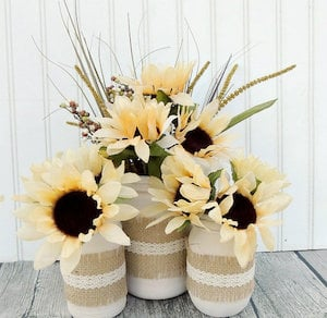 Fall Sunflower Mason Jar Jars Centerpiece