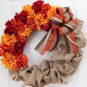 burlap and flower fall wreath