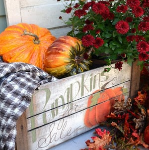 Distressed Pumpkin Crate for porch