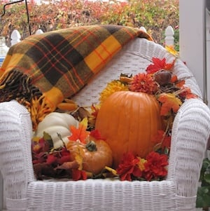Fall Decorated Wicker Chair