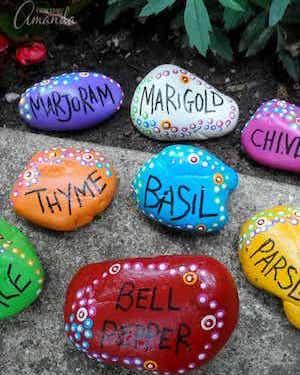 colorful labelled Garden Marker Rocks