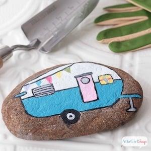 Vintage Camper rock painting idea
