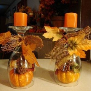Wine Gles Small Pillar Candles Mini Pumpkins Burlap Ribbon Fall Leaves