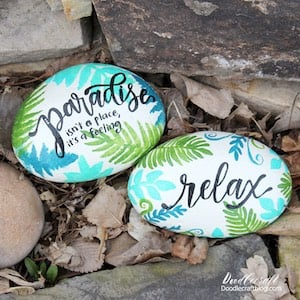 Tropical Paradise Rocks with palm tree branches