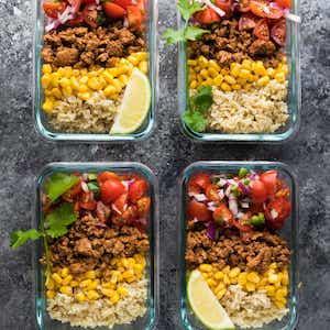 Meal prep Turkey Taco Lunch Bowls