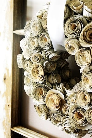 Rolled Book Page fall Wreath