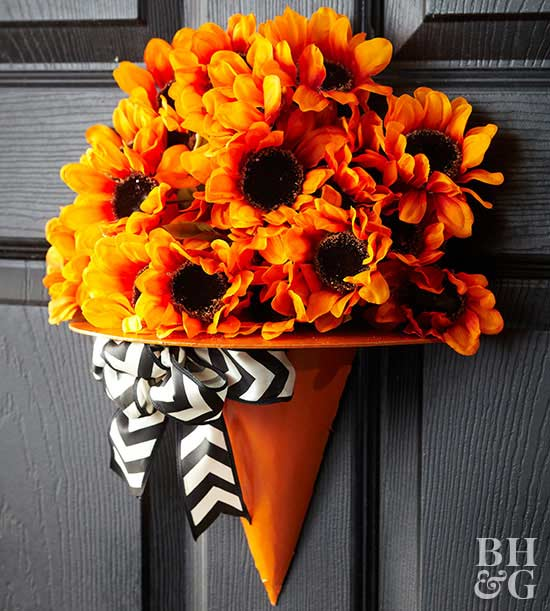 Witches Hat Door Hanger with fall florals