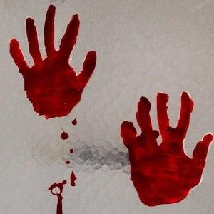 Bloody Handprint Window Cling Halloween Decoration
