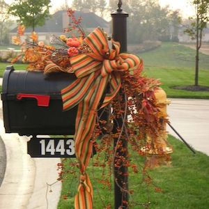 Fall Berries and Bow Mailbox