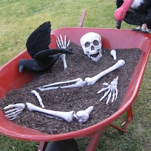 50 cheap and easy outdoor halloween decor diy ideas for Bag of bones halloween decoration