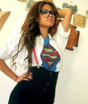 supergirl costume white button down shirt high waisted pencil skirt super girl shirt black rimmed glasses