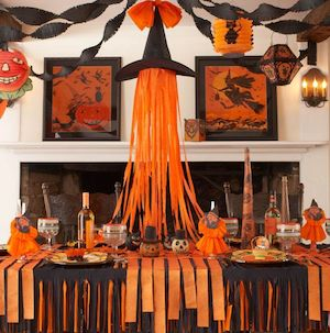 streamer halloween party decorations orange black streamers witch hat ribbons paper lanterns