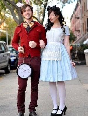 alice in wonderland costumes alice blue dress white apron white stockings black high heels black bow for hair white rabbit darkgray pants