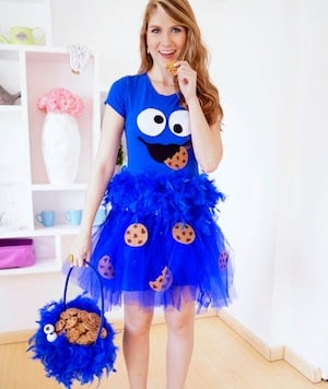 Cookie Monster Costume blue dress blue fabric elastic fabric glue and felt in black white dark brown and light brown.  sc 1 st  Prudent Penny Pincher & 100 Cheap and Easy DIY Halloween Costume Ideas - Prudent Penny Pincher