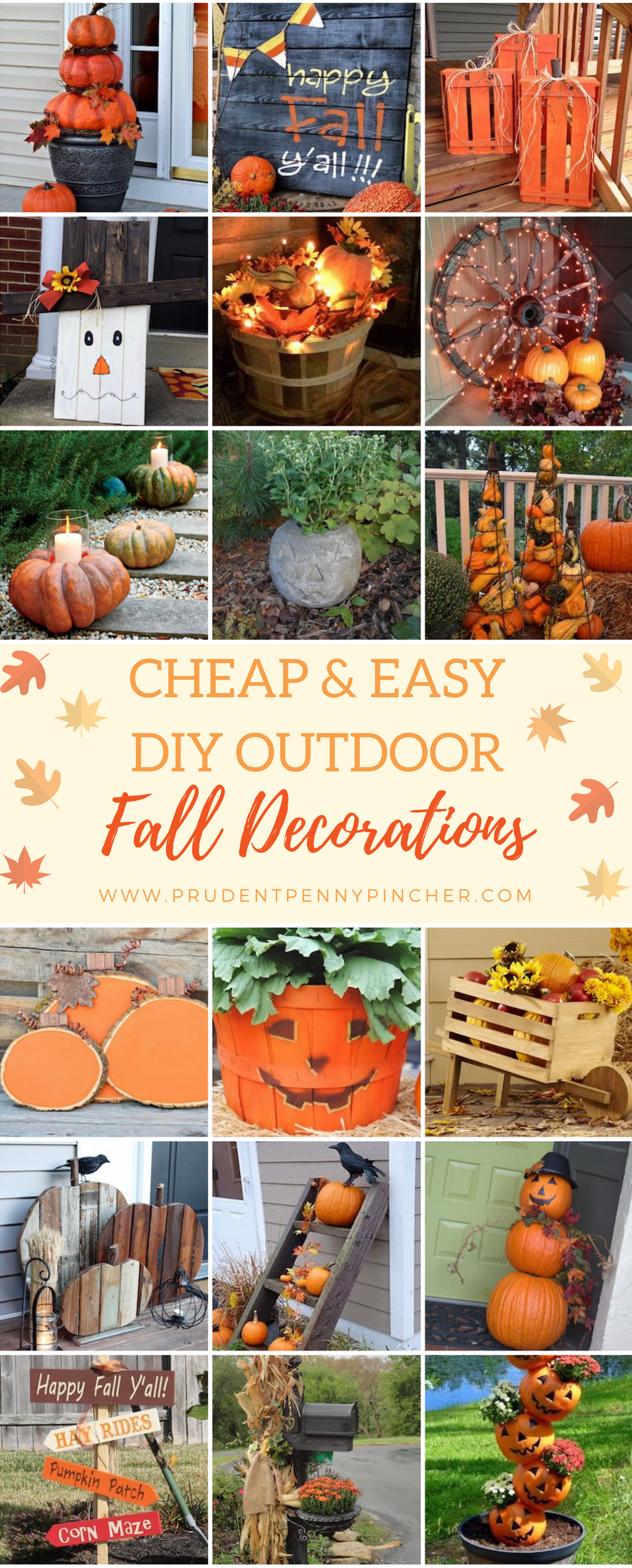 50 Cheap and Easy DIY Outdoor Fall Decorations - Prudent ...