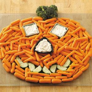 Jack O Lantern Veggie Tray halloween party appetizer