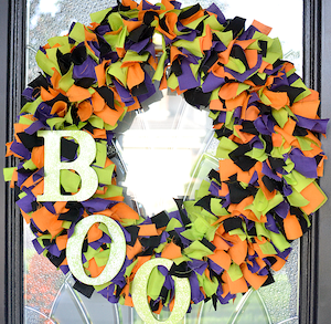 halloween fabric wreath green purple orange black fabric wire wreath frame wood letters acrylic paint twine - Halloween Candy Wreath