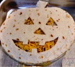 Jack O Lantern Quesadillas halloween party food