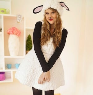 Homemade Lamb Costume white dress fabric glue cotton balls black tights long sleeve black shirt  sc 1 st  Prudent Penny Pincher & 100 Cheap and Easy DIY Halloween Costume Ideas - Prudent Penny Pincher