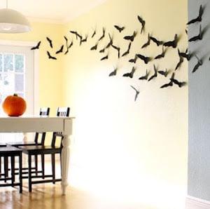 DIY Black Bats Halloween Wall Decor