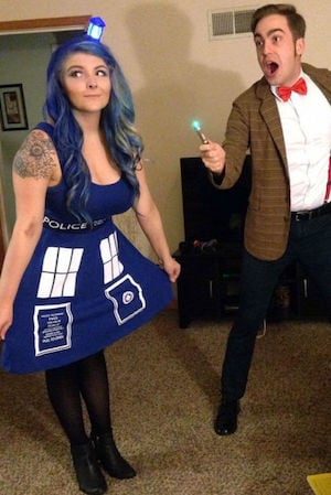 Doctor Who and Tardis halloween costume for couples