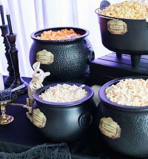 popcorn in cauldron for halloween party table