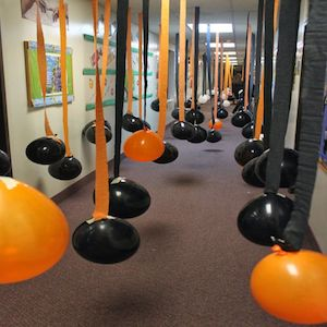 Orange and Black Balloon Streamers