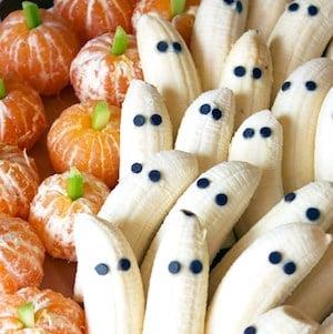 Tangerine Pumpkins & Banana Ghosts Healthy Halloween Treat