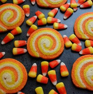Candy Corn Swirl Halloween Cookies