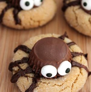 halloween peanut butter spider cookies from mommy musings