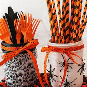 Spooky Halloween Mason Jars holding utensils