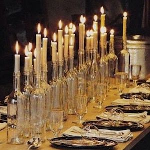 Halloween party Candle wine bottle Centerpiece