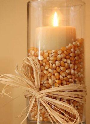 Popcorn Kernel DIY Fall Candle Centerpiece