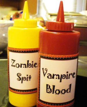 Spooky Condiment Bottles labels for halloween party
