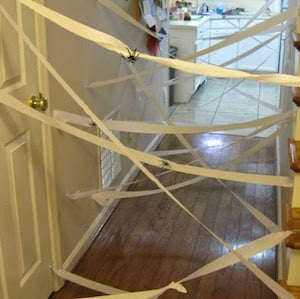 toilet paper Spider Web Game for halloween