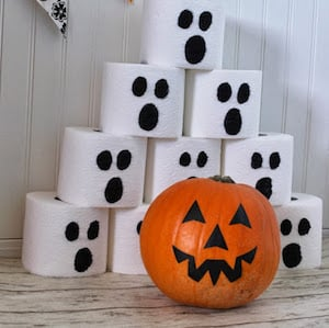 Pumpkin Bowling Using Toilet Paper